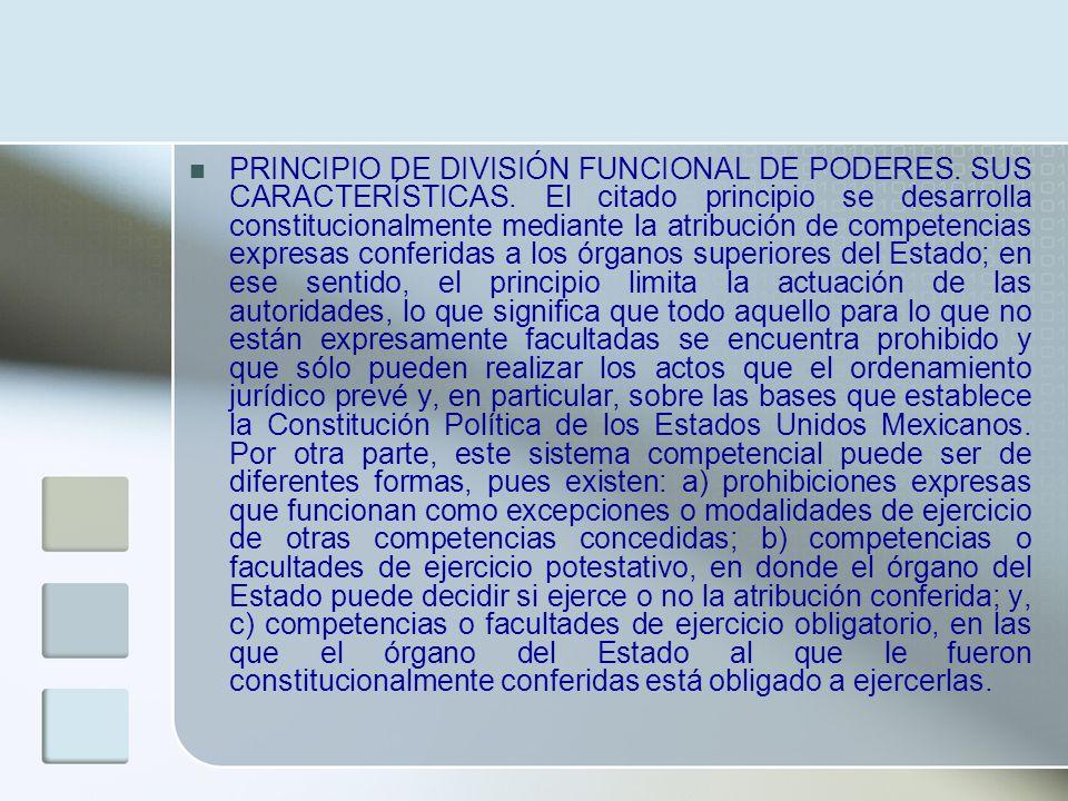 PRINCIPIO DE DIVISIÓN FUNCIONAL DE PODERES. SUS CARACTERÍSTICAS