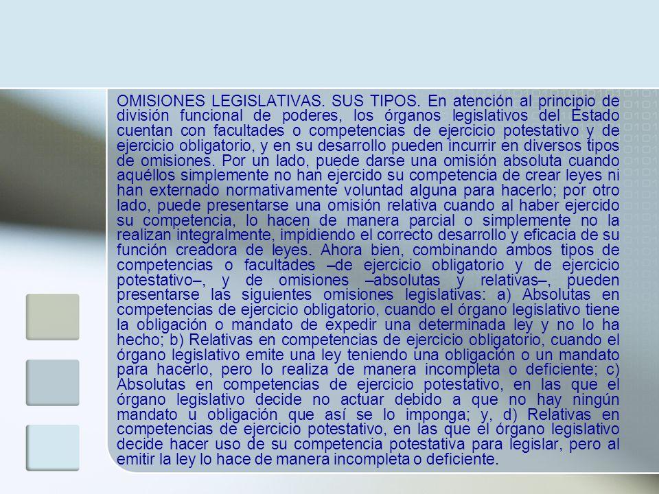 OMISIONES LEGISLATIVAS. SUS TIPOS