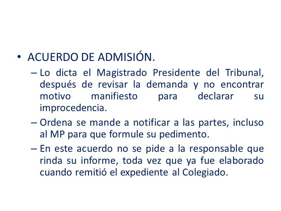 ACUERDO DE ADMISIÓN.