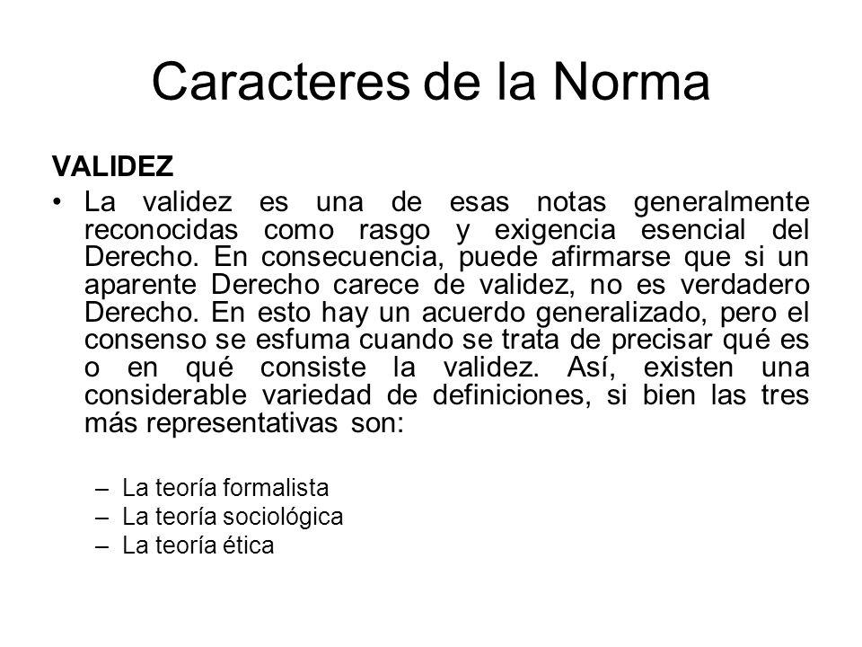 Caracteres de la Norma VALIDEZ