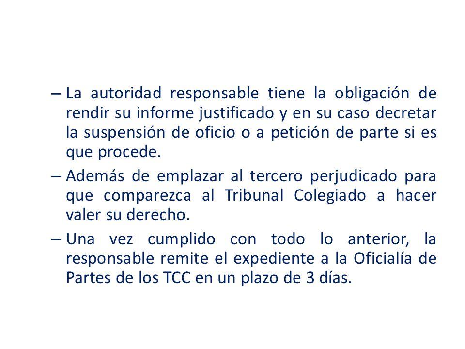 La autoridad responsable tiene la obligación de rendir su informe justificado y en su caso decretar la suspensión de oficio o a petición de parte si es que procede.