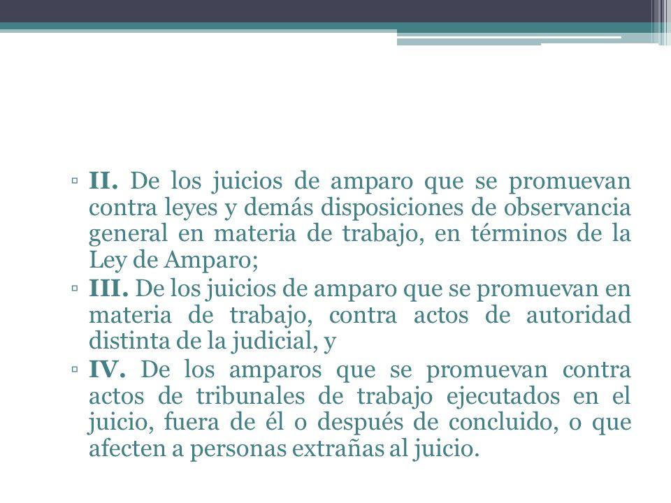 II. De los juicios de amparo que se promuevan contra leyes y demás disposiciones de observancia general en materia de trabajo, en términos de la Ley de Amparo;