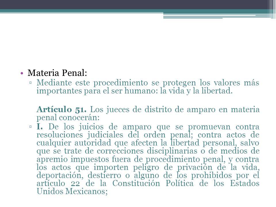 Materia Penal: Mediante este procedimiento se protegen los valores más importantes para el ser humano: la vida y la libertad.