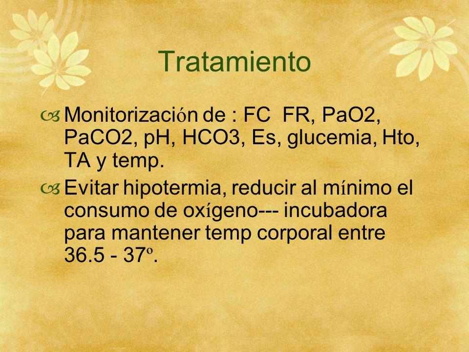 Tratamiento Monitorización de : FC FR, PaO2, PaCO2, pH, HCO3, Es, glucemia, Hto, TA y temp.