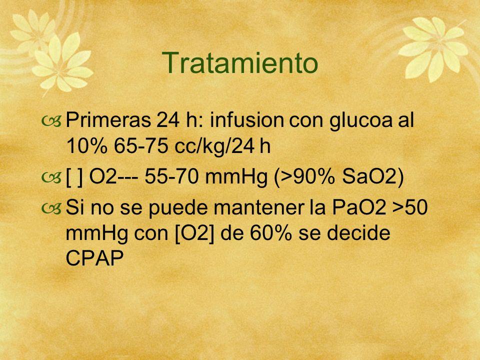Tratamiento Primeras 24 h: infusion con glucoa al 10% 65-75 cc/kg/24 h