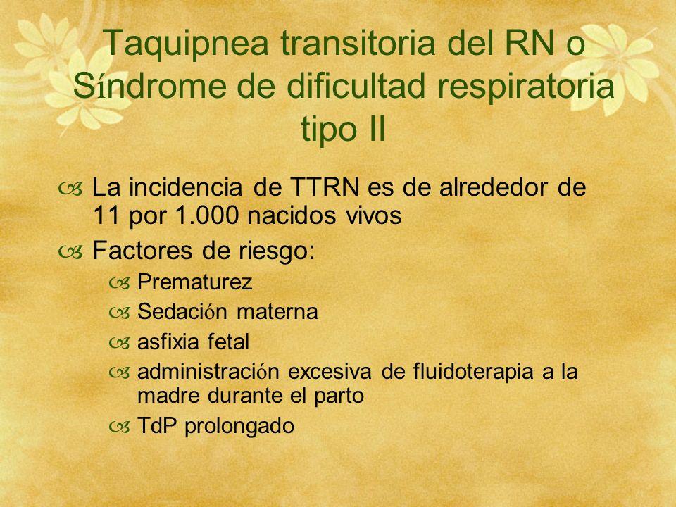 Taquipnea transitoria del RN o Síndrome de dificultad respiratoria tipo II