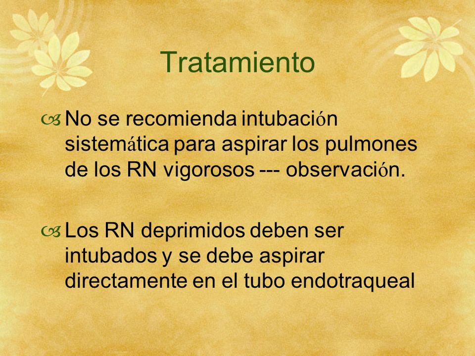 TratamientoNo se recomienda intubación sistemática para aspirar los pulmones de los RN vigorosos --- observación.