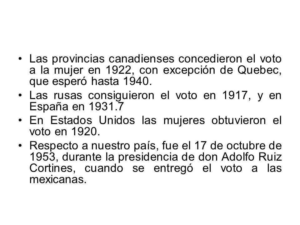 Las provincias canadienses concedieron el voto a la mujer en 1922, con excepción de Quebec, que esperó hasta 1940.