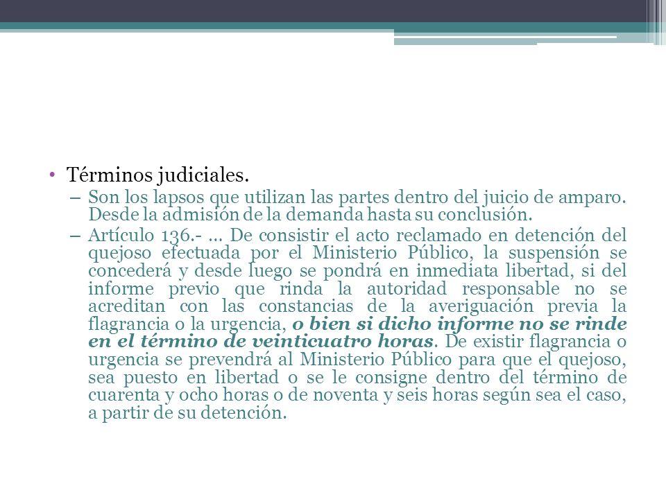Términos judiciales.Son los lapsos que utilizan las partes dentro del juicio de amparo. Desde la admisión de la demanda hasta su conclusión.