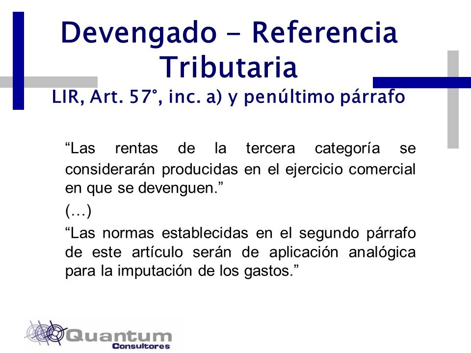 Devengado - Referencia Tributaria LIR, Art. 57°, inc