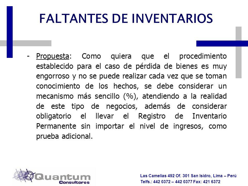 FALTANTES DE INVENTARIOS