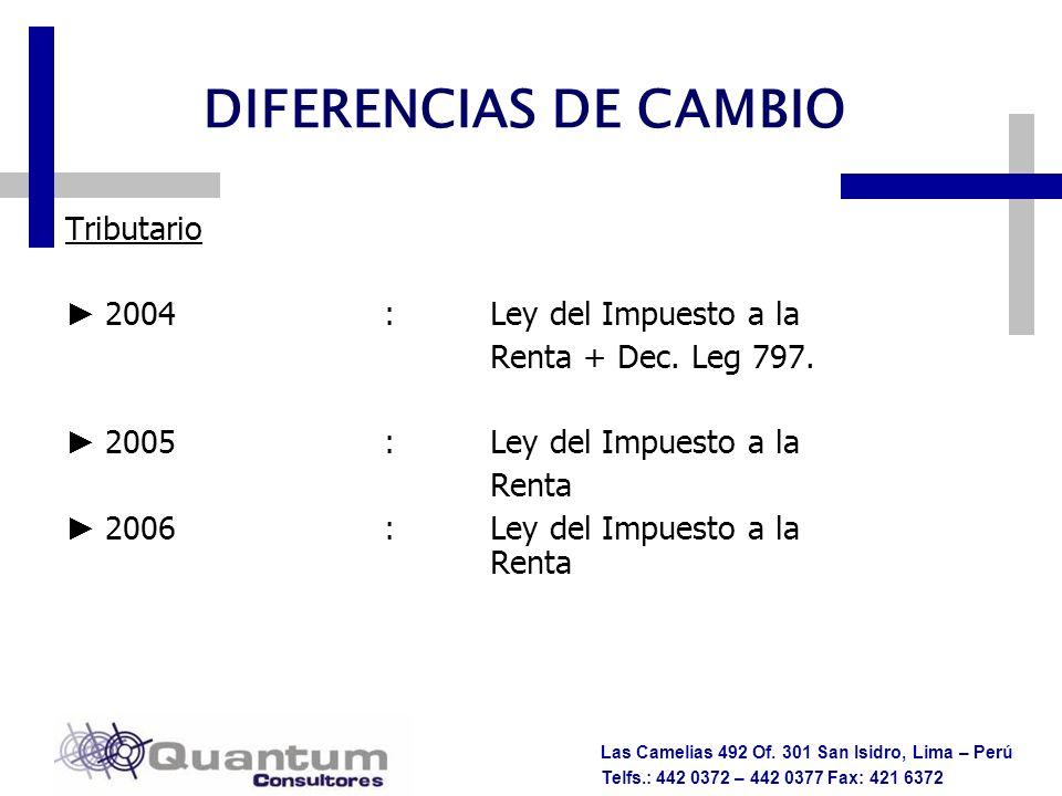 DIFERENCIAS DE CAMBIO Tributario 2004 : Ley del Impuesto a la