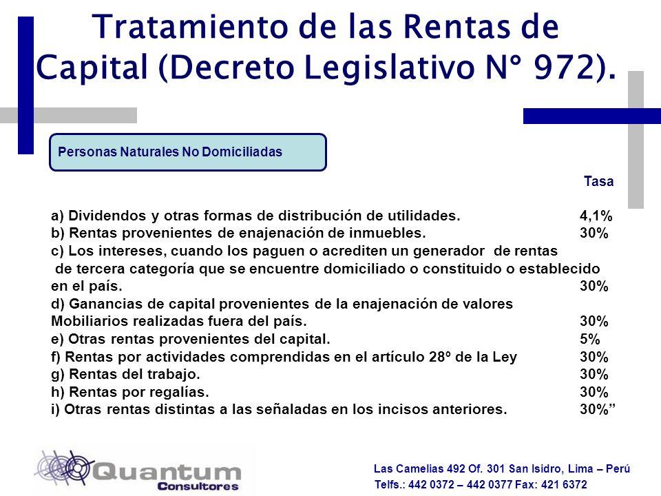 Tratamiento de las Rentas de Capital (Decreto Legislativo N° 972).