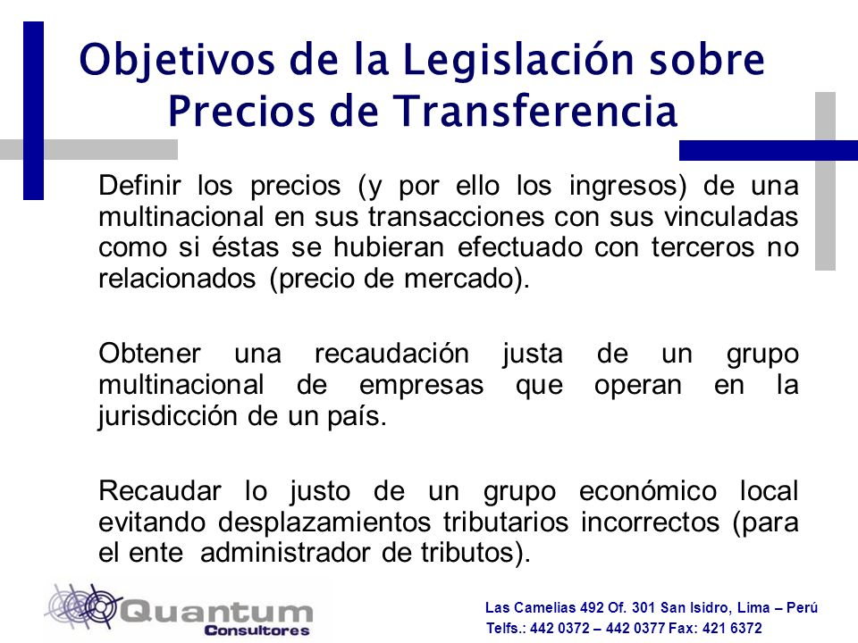 Objetivos de la Legislación sobre Precios de Transferencia