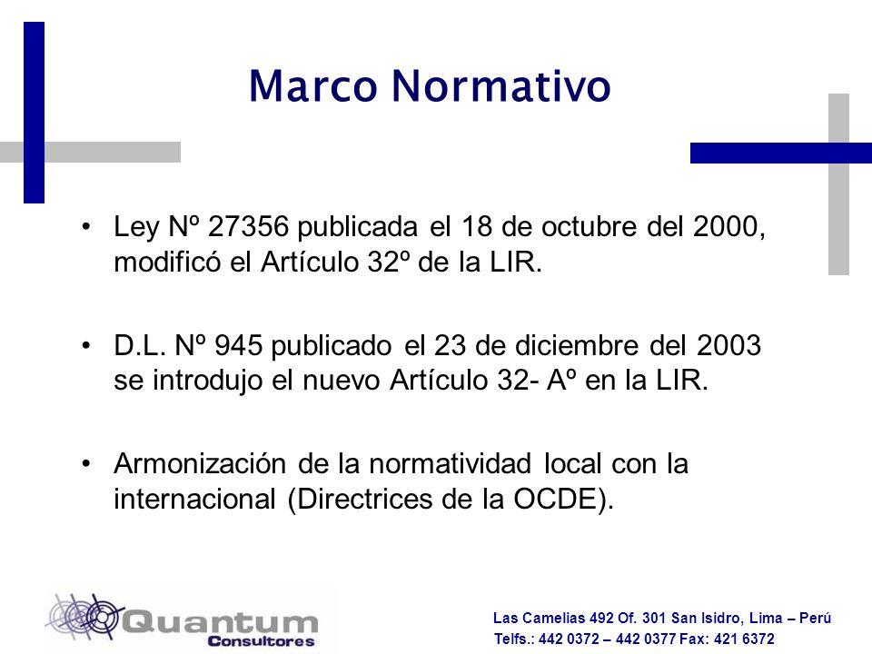 Marco Normativo Ley Nº 27356 publicada el 18 de octubre del 2000, modificó el Artículo 32º de la LIR.