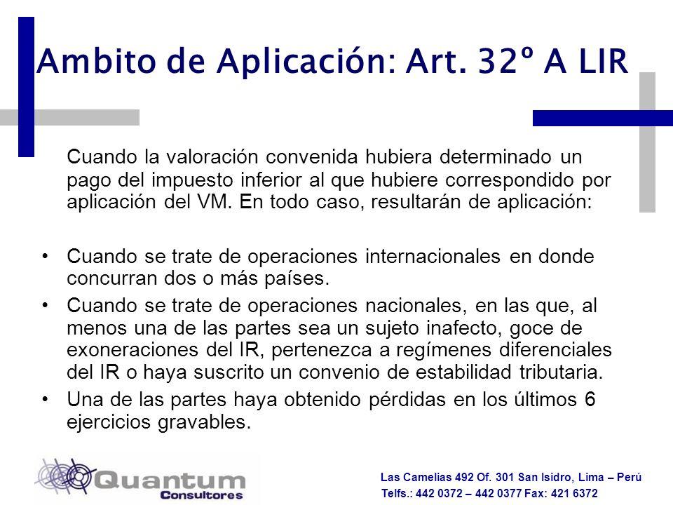 Ambito de Aplicación: Art. 32º A LIR