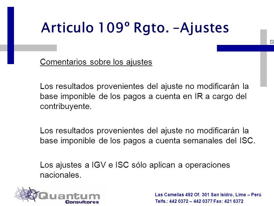 Articulo 109º Rgto. –Ajustes