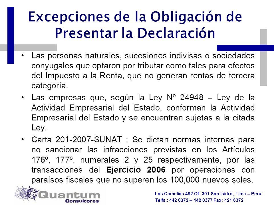 Excepciones de la Obligación de Presentar la Declaración