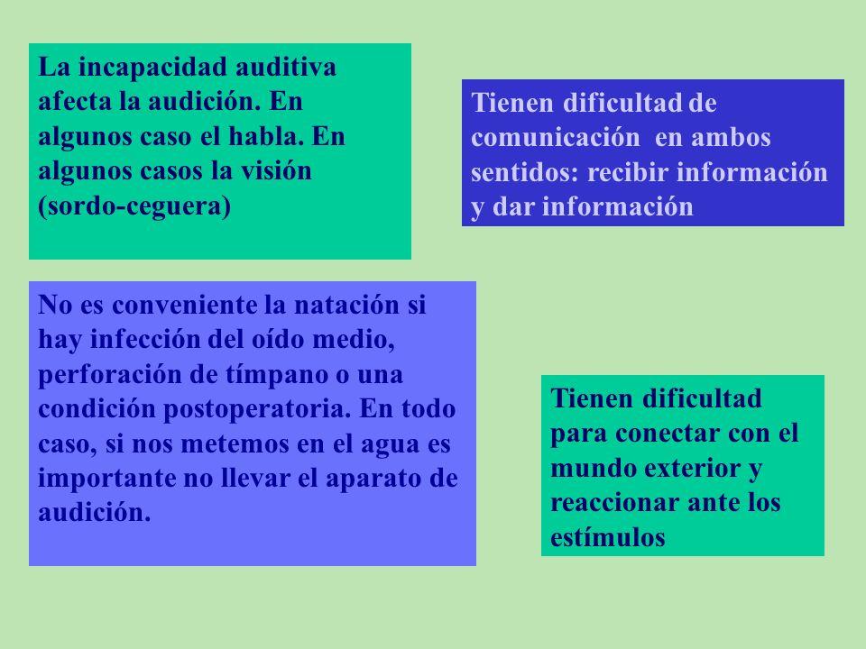 La incapacidad auditiva afecta la audición. En algunos caso el habla
