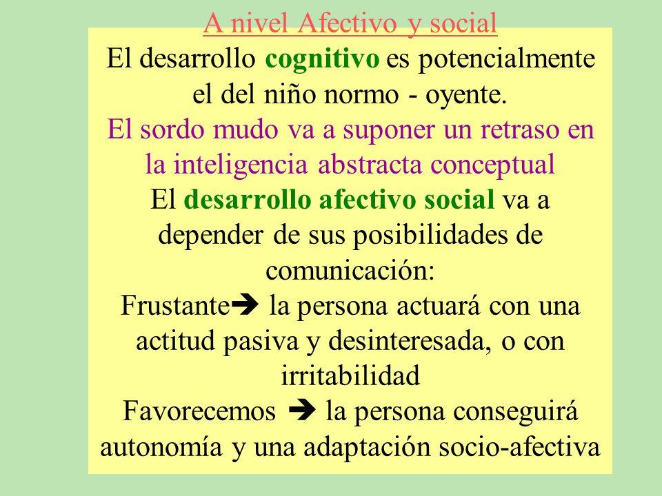A nivel Afectivo y social El desarrollo cognitivo es potencialmente el del niño normo - oyente.