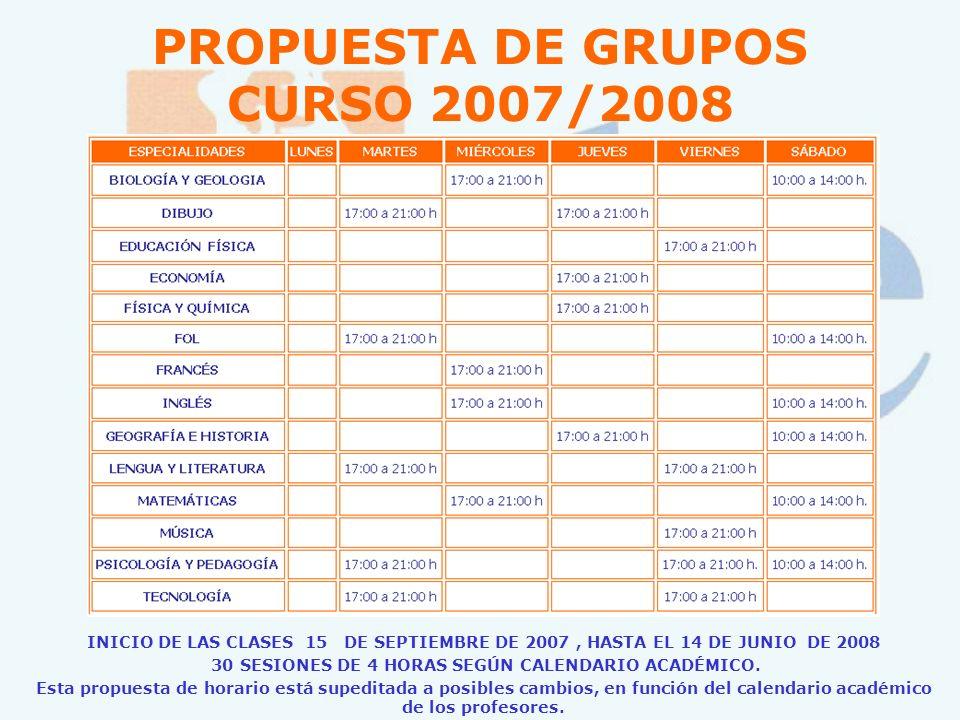 PROPUESTA DE GRUPOS CURSO 2007/2008