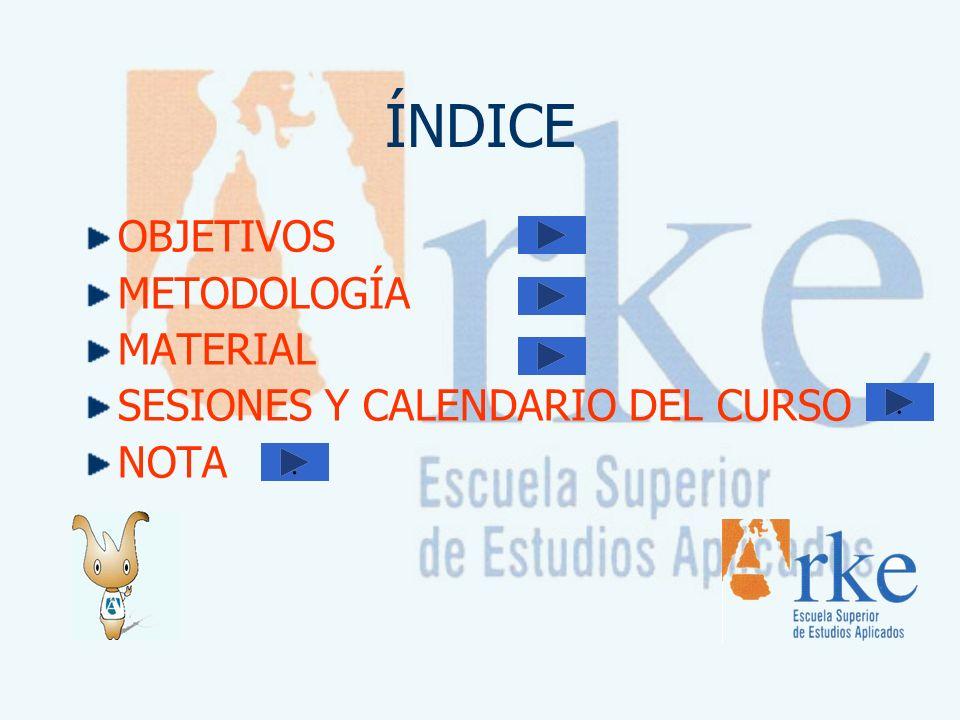 ÍNDICE OBJETIVOS METODOLOGÍA MATERIAL SESIONES Y CALENDARIO DEL CURSO