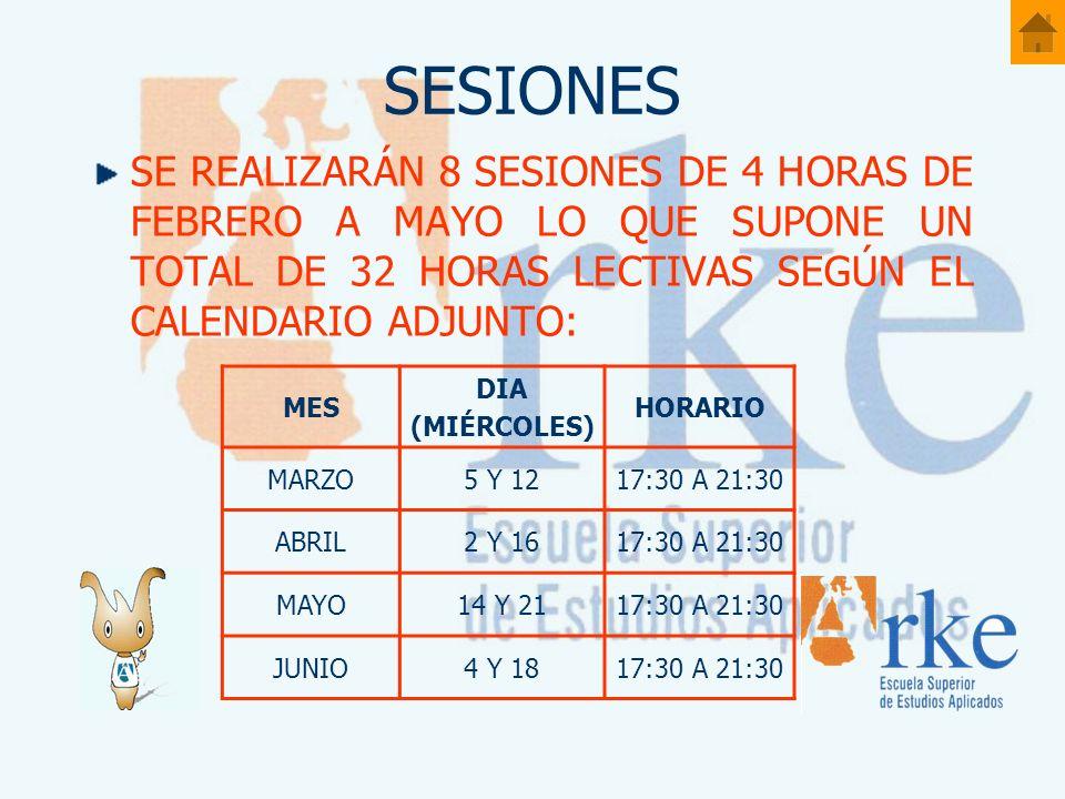 SESIONES SE REALIZARÁN 8 SESIONES DE 4 HORAS DE FEBRERO A MAYO LO QUE SUPONE UN TOTAL DE 32 HORAS LECTIVAS SEGÚN EL CALENDARIO ADJUNTO: