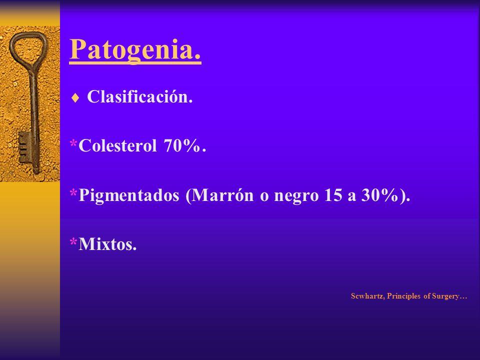 Patogenia. Clasificación. *Colesterol 70%.