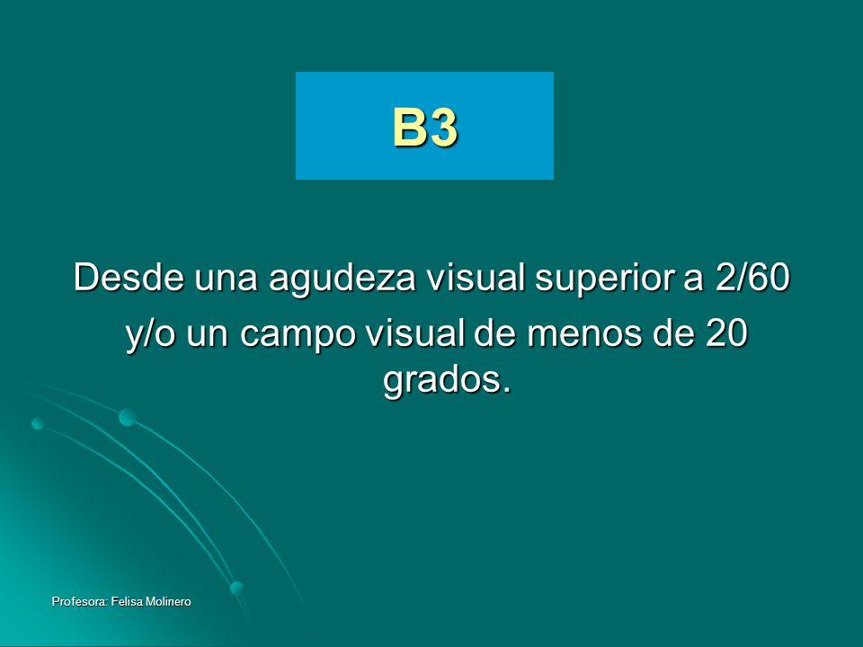 B3 Desde una agudeza visual superior a 2/60