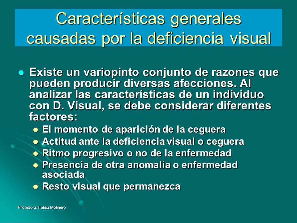 Características generales causadas por la deficiencia visual