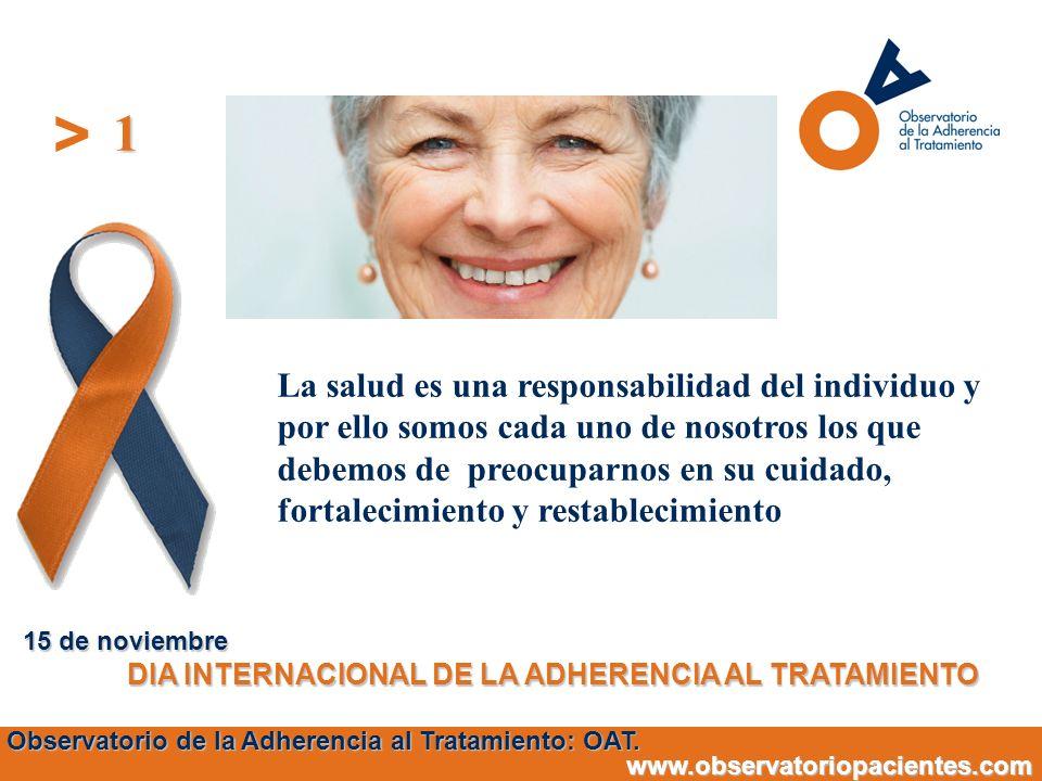 1 15 de noviembre. DIA INTERNACIONAL DE LA ADHERENCIA AL TRATAMIENTO.