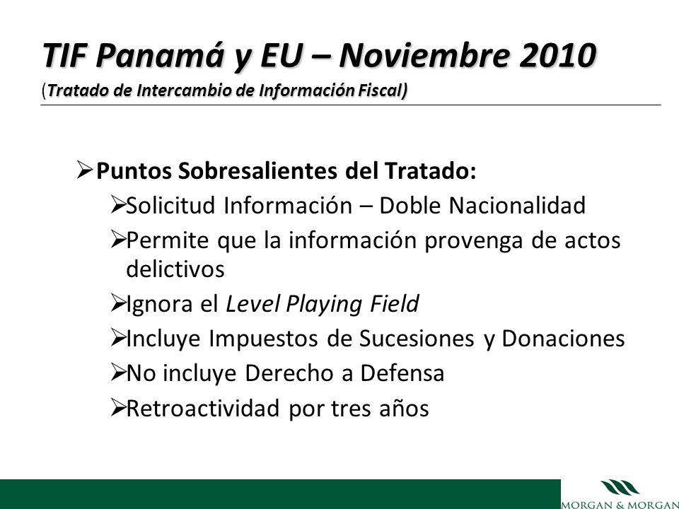 TIF Panamá y EU – Noviembre 2010 (Tratado de Intercambio de Información Fiscal)