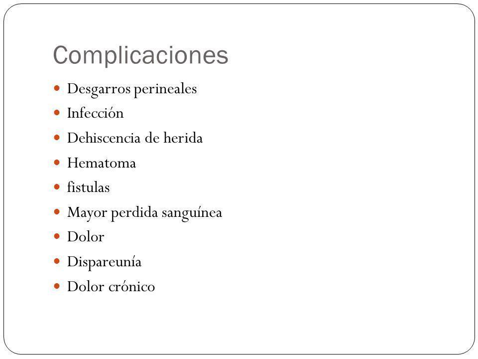 Complicaciones Desgarros perineales Infección Dehiscencia de herida