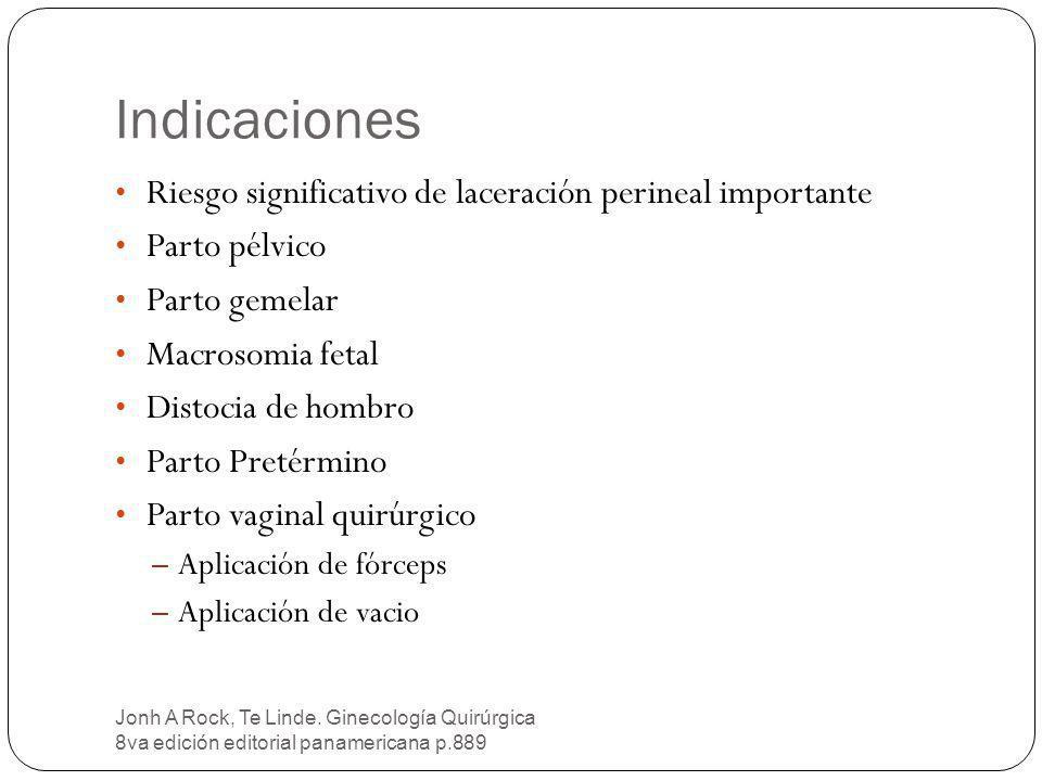 Indicaciones Riesgo significativo de laceración perineal importante