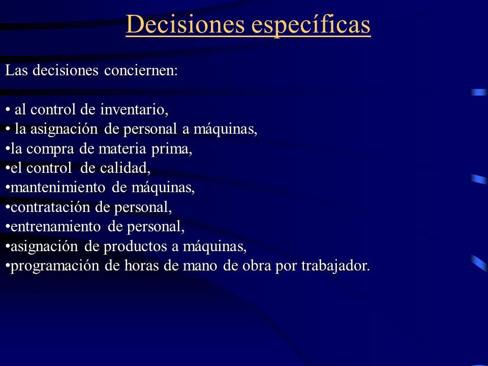 Decisiones específicas