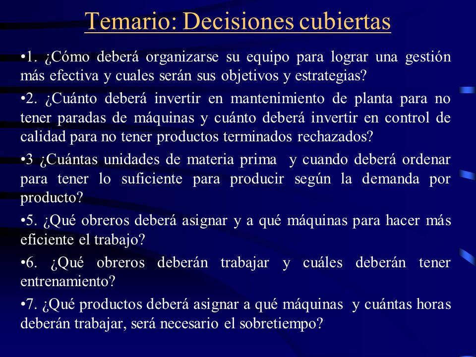 Temario: Decisiones cubiertas