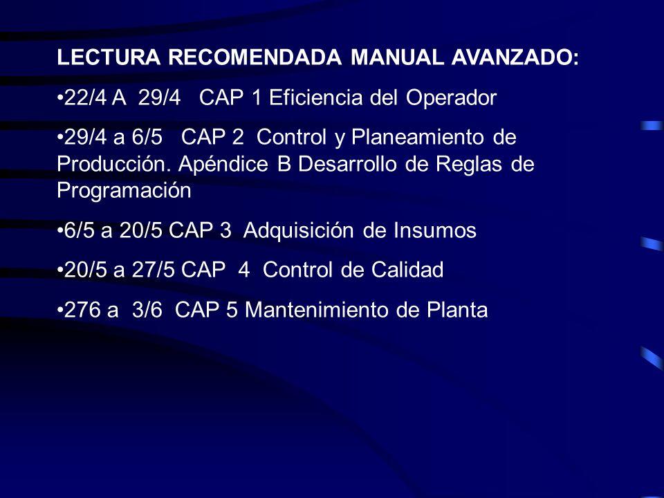 LECTURA RECOMENDADA MANUAL AVANZADO: