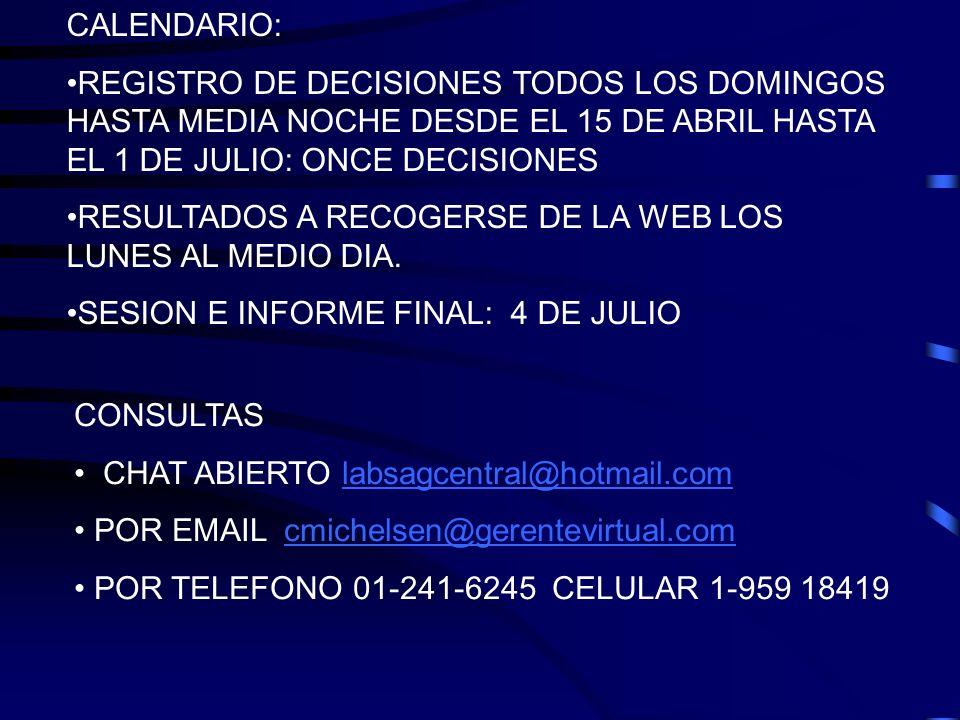 CALENDARIO: REGISTRO DE DECISIONES TODOS LOS DOMINGOS HASTA MEDIA NOCHE DESDE EL 15 DE ABRIL HASTA EL 1 DE JULIO: ONCE DECISIONES.