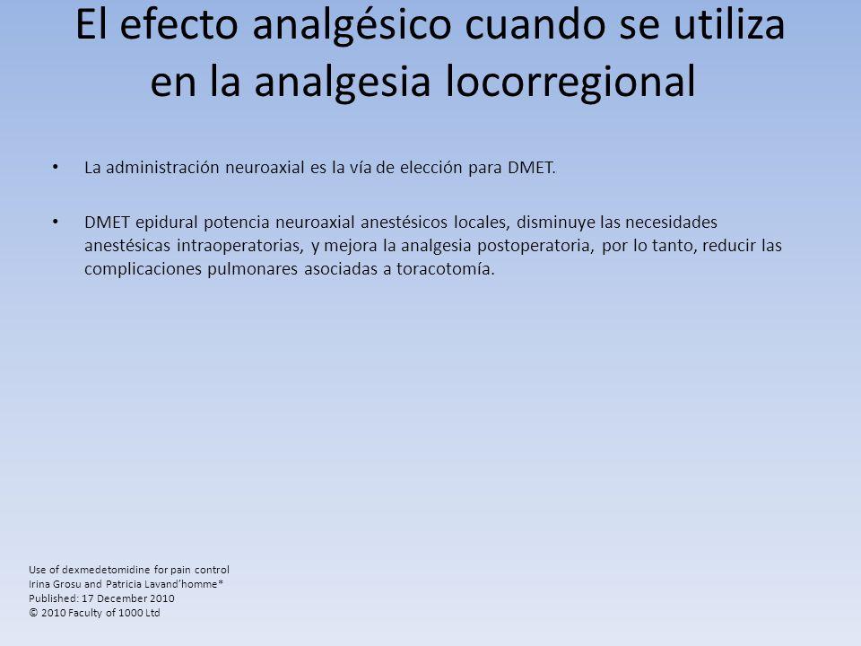 El efecto analgésico cuando se utiliza en la analgesia locorregional
