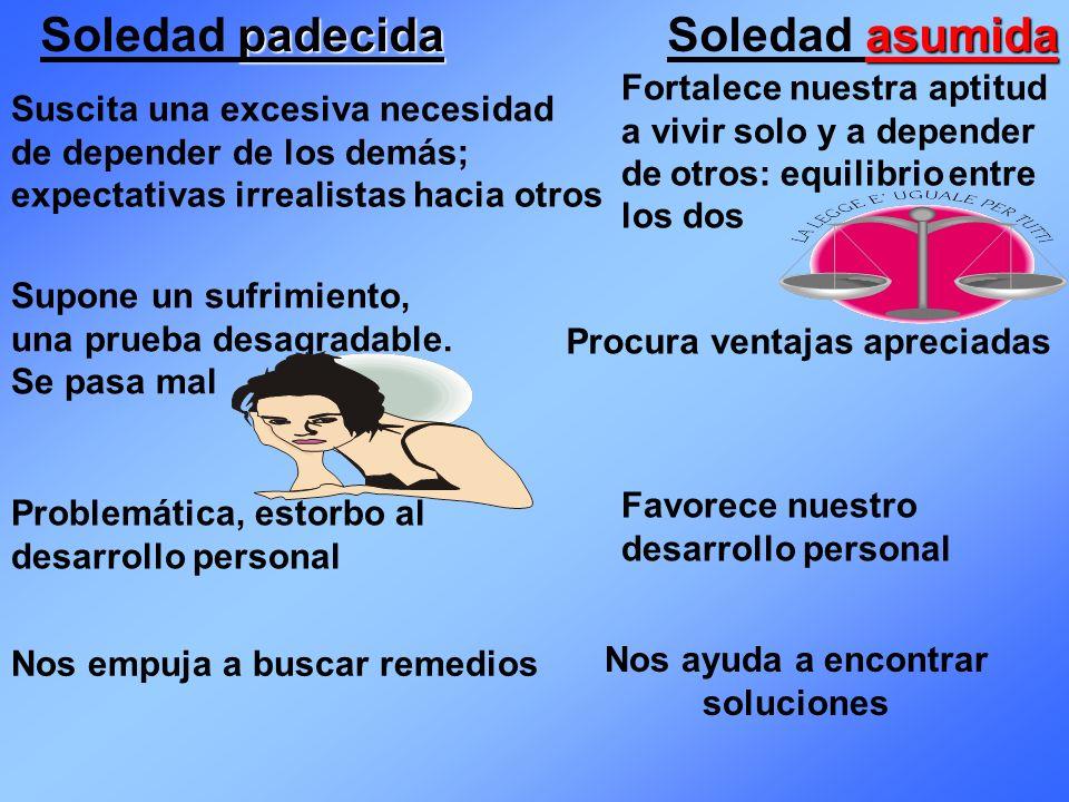Soledad padecida Soledad asumida