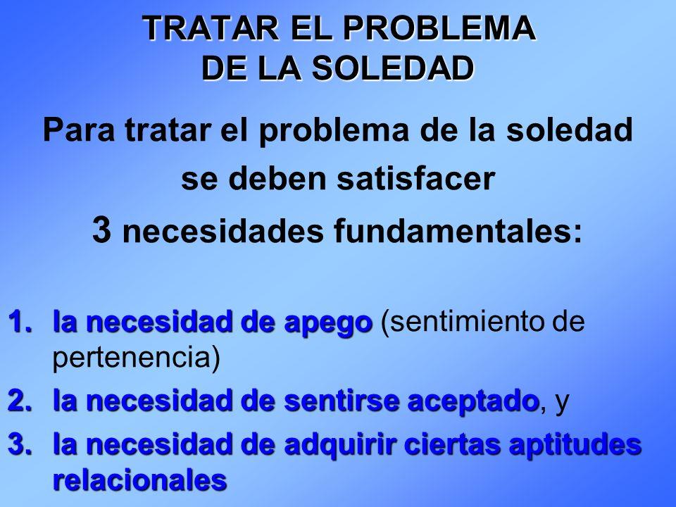 TRATAR EL PROBLEMA DE LA SOLEDAD