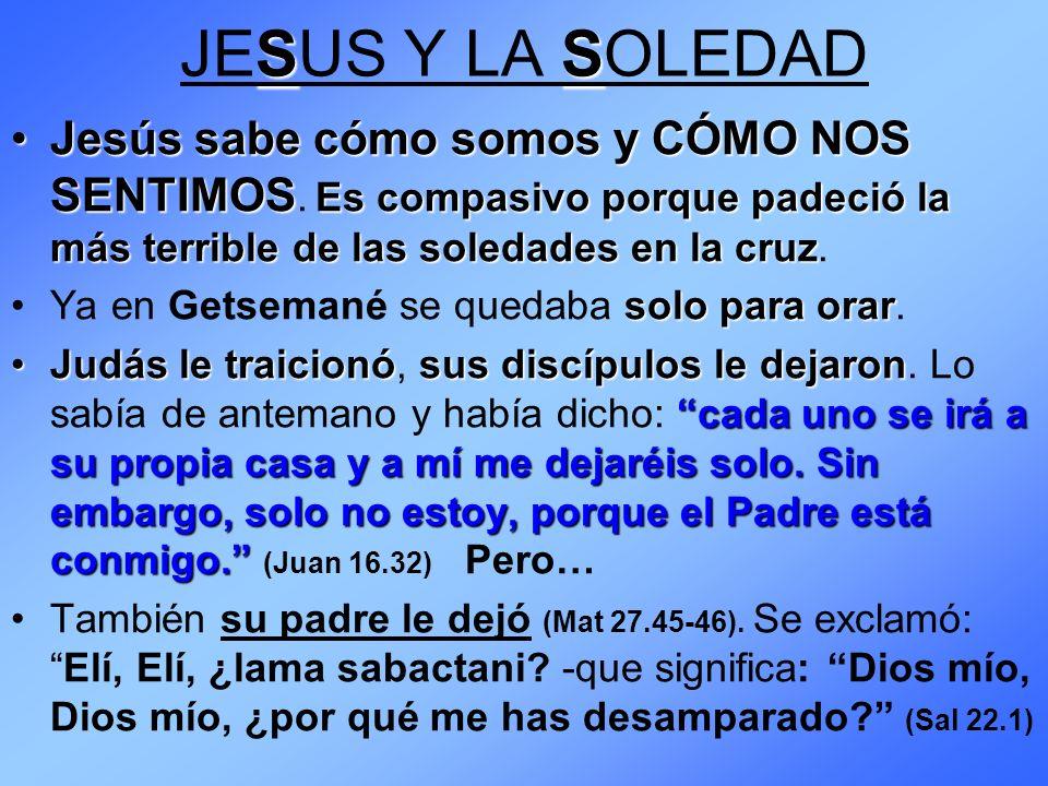 JESUS Y LA SOLEDAD Jesús sabe cómo somos y CÓMO NOS SENTIMOS. Es compasivo porque padeció la más terrible de las soledades en la cruz.