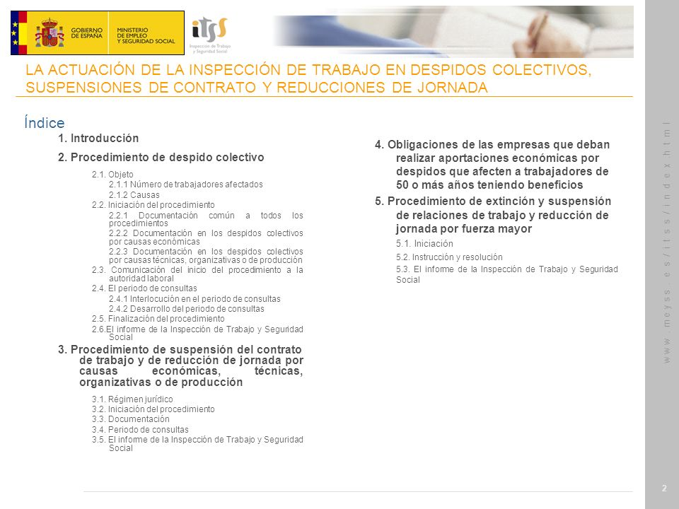 LA ACTUACIÓN DE LA INSPECCIÓN DE TRABAJO EN DESPIDOS COLECTIVOS, SUSPENSIONES DE CONTRATO Y REDUCCIONES DE JORNADA