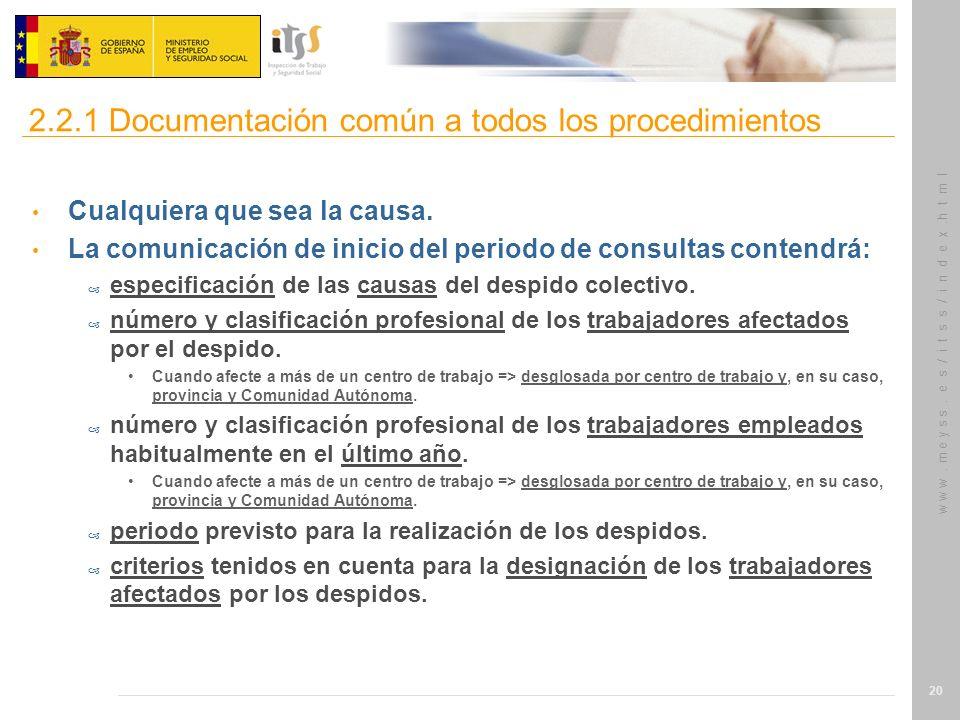 2.2.1 Documentación común a todos los procedimientos
