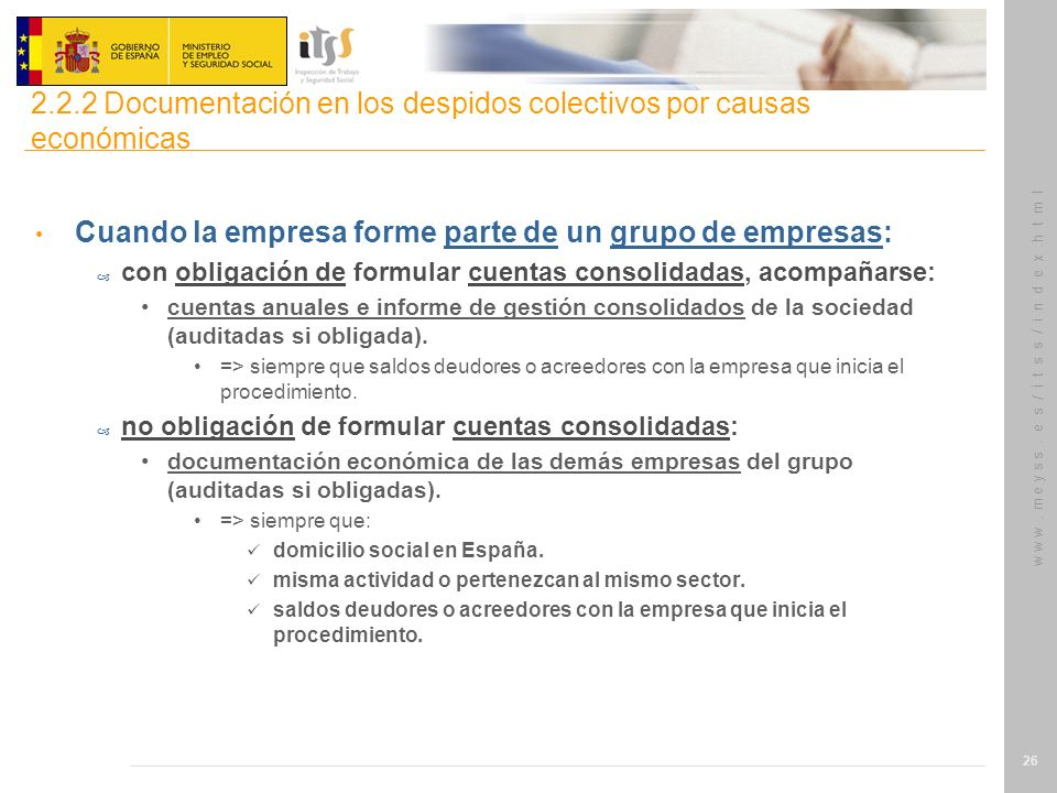 2.2.2 Documentación en los despidos colectivos por causas económicas