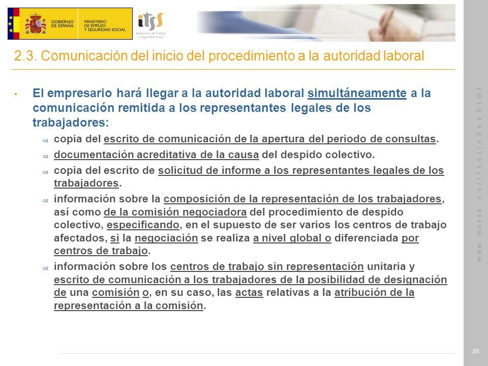 2.3. Comunicación del inicio del procedimiento a la autoridad laboral