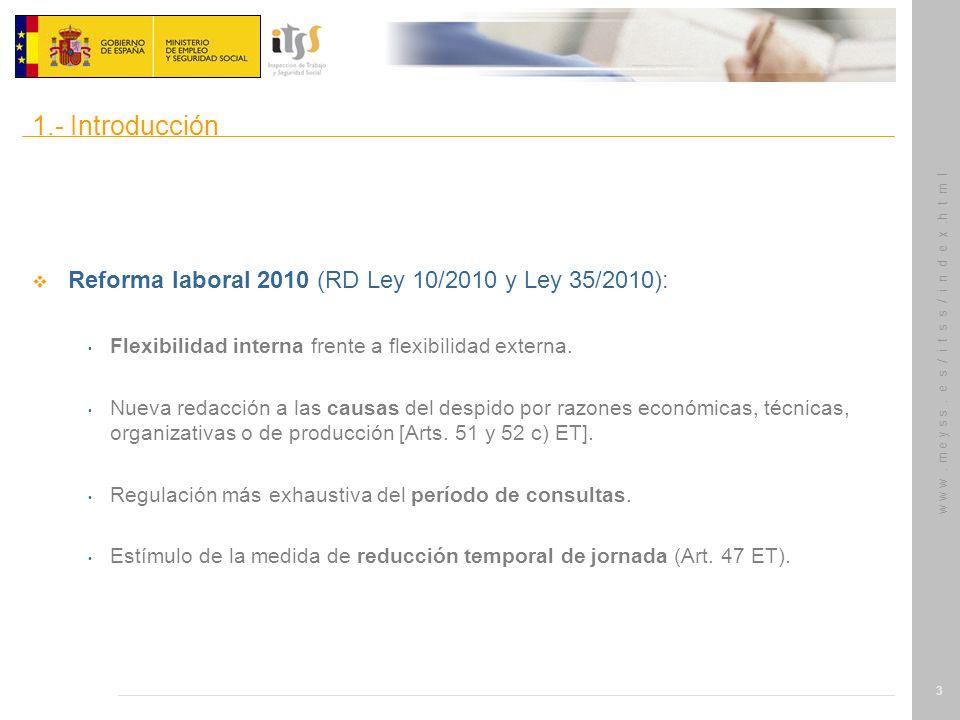 1.- Introducción Reforma laboral 2010 (RD Ley 10/2010 y Ley 35/2010):