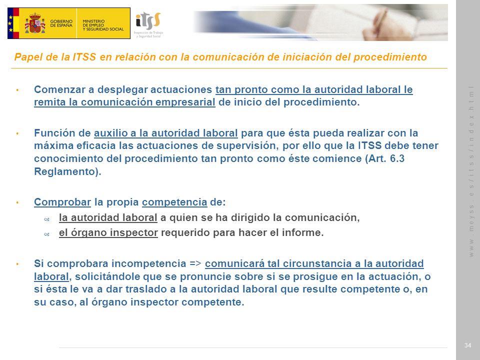 Papel de la ITSS en relación con la comunicación de iniciación del procedimiento