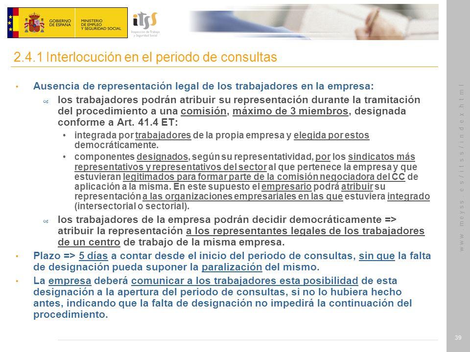 2.4.1 Interlocución en el periodo de consultas