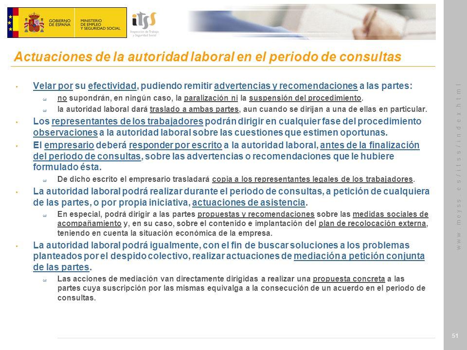 Actuaciones de la autoridad laboral en el periodo de consultas